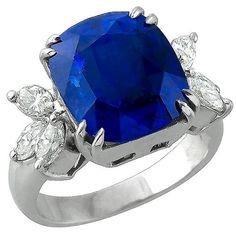 Estate_9.88ct_Cushion_Cut_Ceylon_Sapphire_0.80ct_Marquise_Cut_Diamond_18k_White_Gold_Ring | New York Estate Jewelry | Israel Rose