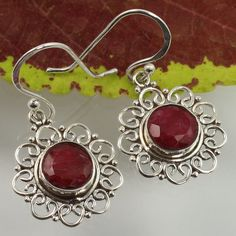 Handcrafted Earrings RUBY Dyed Gemstones 925 Sterling Silver Wholesale Supplier #Unbranded #DropDangle