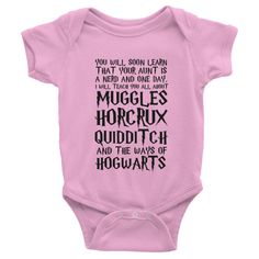 Aunt is a Harry Potter Nerd one-piece This short-sleeve baby onesie is soft, comfortable, and made of 100% cotton. It's designed to fit infants of all sizes, with a rib knit to give good stretch and a