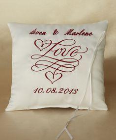 Ringkissen - Ringkissen bestickt mit Namen und Datum, LOVE - ein Designerstück von Ringkissenshop24 bei DaWanda