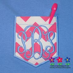 Youth Girl's Monogram Pocket Tee Chevron Short by CandLMonograms