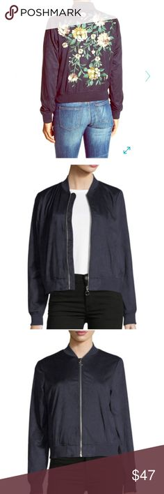 """NWT Bagatelle Embroidered Faux Suede Bomber Jacket Romantic floral embroidery vibrantly stitched on the back of a luxe faux suede bomber jacket. Varsity collar. Long-sleeves with banded cuffs. Front zip closure. 2 front welt pockets. Banded hem. Lined. Approx 21"""" length. True to size semi-fitted silhouette. Pictures do not do this bomber jacket justice! SO soft and on trend. I would pair with skinny jeans and a cute pair of booties or sneakers. Too small for me- only reason I'm parting with…"""