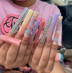 Dope Nails, Fun Nails, Pretty Nails, Long Square Acrylic Nails, Color For Nails, Toe Designs, Bling Acrylic Nails, Cute Acrylic Nail Designs, Exotic Nails