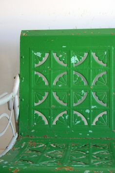 Spring Green Vintage Glider Metal Bench by RhapsodyAttic on Etsy, $500.00