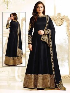 New indian bollywood designer gown partywear embroidery work fancy look | eBay