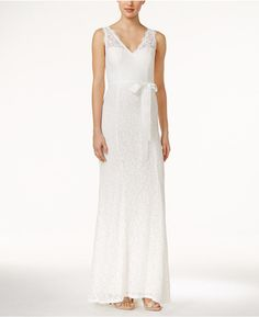 Adrianna Papell Lace V-Neck Sash Gown at Macy's #affiliatelink