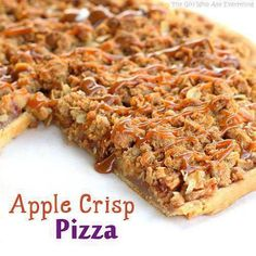 Apple Crisp Pizza >>>  Ingredients::::  Pastry for single-crust pie (9 inches)  2/3 cup sugar 3 tablespoons all-purpose flour 1 teaspoon ground Cinnamon 4 medium apples (like Gala, Fiji, Braeburn, Empire) peeled and diced into 1/4 inch pieces TOPPING: 1/2 cup all-purpose flour 1/3 cup packed brown sugar 1/2 cup old-fashioned rolled oats 1 teaspoon ground cinnamon 1/4 cup salted butter, softened DRIZZLE: 1/2 cup caramel topping