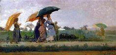 Cristiano Banti (Santa Croce sull' Arno 1824, Montemurlo, 1904) Passeggiata sotto la pioggia, 1880