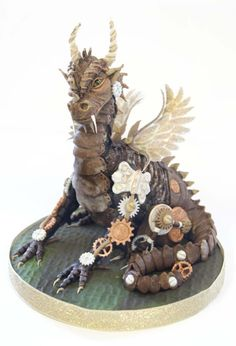Dylan the Steampunk Dragon (cake) by Totally Sugar by Jacqui Kelly Unique Cakes, Creative Cakes, Fancy Cakes, Cute Cakes, Pink Cakes, Beautiful Cakes, Amazing Cakes, Fantasy Cake, For Elise