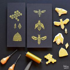 Andrea Lauren.   I was already thinking of using the bee/honeycomb technique during my independent study. these are beautiful.