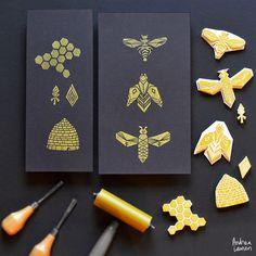 Linocut printmaking and surface pattern design by licensing artist Andrea Lauren, author of Block Print. Stamp Printing, Screen Printing, Bee Design, Pattern Design, Stencil, Stamp Carving, Handmade Stamps, Linoprint, Linocut Prints