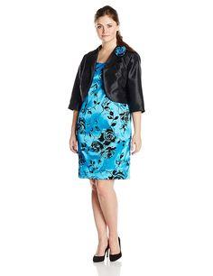 Dana Kay Women's Plus-Size Flocked Jacket and Dress Set >>> See this awesome image  : Plus size dresses