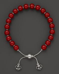 Gucci Love Britt S. Sterling Silver And Red Varnished Wood Bead Bracelet | Bloomingdale's