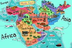 Buy Middle East Countries Map in Cartoon Style by artisticco on GraphicRiver. A vector illustration of Middle East Countries Map in Cartoon Style Middle East Map, The Middle, World Map Continents, Egypt Map, Map Painting, Arabian Beauty, Country Maps, Map Design, Travel Maps