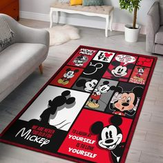 Mickey Mouse - Area Rug – Dadu Store home decor themed rooms Mickey Mouse Bathroom, Mickey Mouse Nursery, Mickey Mouse House, Mickey Mouse Kitchen, Disney Kitchen, Mickey Minnie Mouse, Mickey Mouse Clothes, Cozinha Do Mickey Mouse, Casa Disney