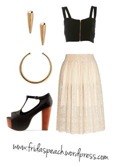 A look for a night out with the girls. Lace skirt, bra top, plateau heels, neck cuff & spike earrings.