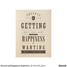 Success and happiness inspirational retro poster
