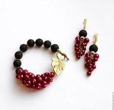 Купить Браслет и серьги из лавы и красного жемчуга SEVILLA - ярко-красный, красный, черный
