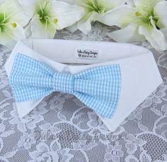 Dog Bowtie Sky Blue Check Seersucker Dog Bow by DukeNDaisyDesigns, $28.50  #weddingdogs #weddingpets