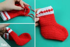 Crochet Santa Claus boots - free instructions for beginners - Talu.de Record of Knitting Wool spinning, weaving and sewing job. Knitting Wool, Knitting Socks, Crochet Santa, Santa Boots, Personalized Christmas Gifts, Amigurumi Toys, Baby Knitting Patterns, Knitted Blankets, Haiti