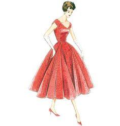 V-ringning och veckad kjol Vogue 1172 symönster mönster