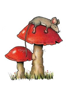 Sleeping Mouse Hand Drawn Clipart Mouse by ToadstoolPrintables . Mushroom Drawing, Mushroom Art, Art Sketches, Art Drawings, Back Drawing, Bird Houses Painted, Drawing Clipart, Alice, Rock Painting Designs