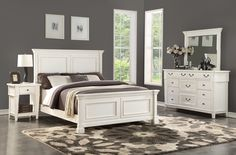 Stoney Creek Bedroom Suite with one drawer nightstand by Thomas Cole Designs White Bedroom Furniture, Large Furniture, Furniture Design, Furniture Stores, Queen Bedroom Suite, King Bedroom, Master Bedroom, Cheap Bedroom Sets, Bedroom Ideas