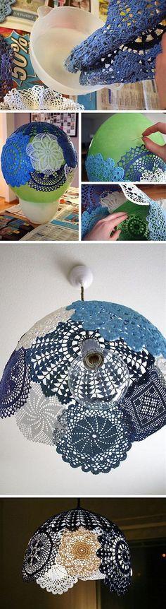 DIY Lace doily Pendant Lamp