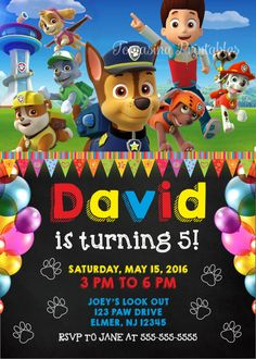 Paw Patrol Invitation Printable Birthday Party Invite Invitations