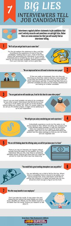7 Big #Lies #Interviewers Tell Job Candidates Infographic