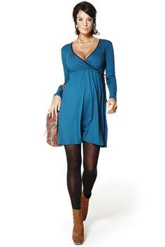 Ropa premama: Vestido Mila  Vestido de manga larga en viscosa elastano cruzado en el pecho.