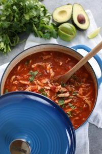 Chicken Tortilla-less Soup | Whole30 chili recipes | Whole30 soup recipes | Whole30 dinner recipes | Whole30 fall recipes | healthy soup recipes | how to make healthy tortilla soup | grain free soup recipes | gluten free soup recipes | dairy free soup recipes | paleo soup recipes || The Real Food Dietitians