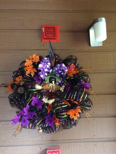 """Halloween 16"""" wreath with scarecrow  $60"""