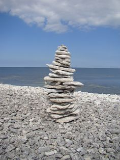 Stacked pebbles on the beach on the island of Fårö, north of Gotland.