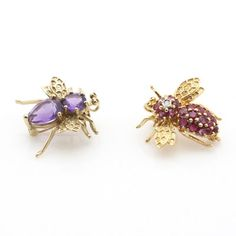 14K 1.11 CTW Ruby and Diamond and 10K Amethyst Bee Brooches