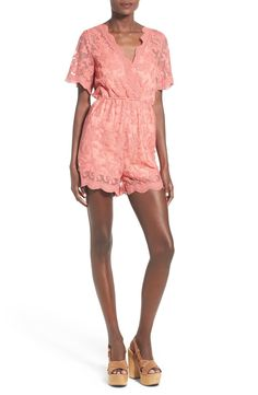 Glamorous Short Sleeve Lace Romper available at #Nordstrom