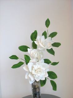 Gumpaste Gardenia's.. One fully opened one with 2 buds and leaves. - Shaile's Edible Art