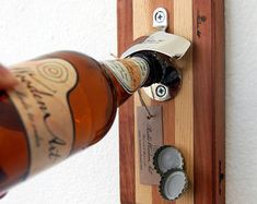 FRİDGE BOTTLE OPENER, wooden beer bottle opener, cap catcher, wall mounted bottle opener, bottle opener wall mount, beer opener