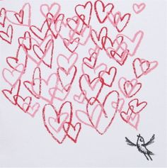Love Song hand screen printed valentines day card by Lisa Stubbs.