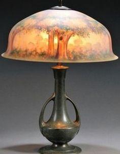 유 Illuminating Lamps 유  Reverse painted table lamp, 1905-25
