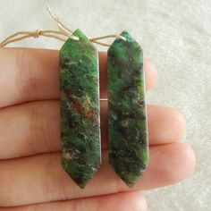 Natural Ruby and Zoisite Drilled Earring Beads 44x11x4mm,7.7g