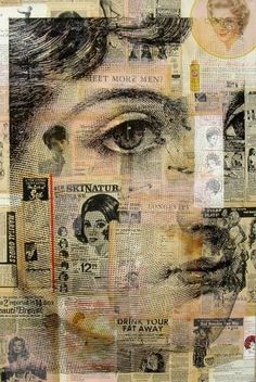Collage by Michelle Caplan; collage a piece of paper, then put through the printer and print large image on top. Collages, Collage Kunst, Collage Collage, Face Collage, Collage Drawing, Collage Portrait, Newspaper Art, Vintage Newspaper, Mixed Media Collage