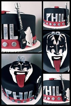 40th Birthday Death by Chocolate Cake featuring Gene Simmons from Kiss!