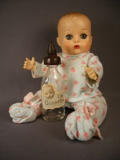 Vogue Ginnette Doll and Glass Bottle  Ginnys Sister  by TheToyBox, $95.00