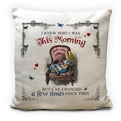 Alice in Wonderland Mad Hatter Tea Party Cushion Cover This Morning Alice In Wonderland Artwork, Alice In Wonderland Tea Party, Handmade Cushion Covers, Handmade Cushions, Mad Hatter Tea, Party Props, Party Ideas, Handmade Home Decor, Morning Quotes