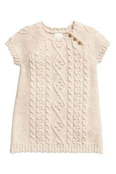 Stickad klänning - Ljusbeige -  ac344b0ded25d