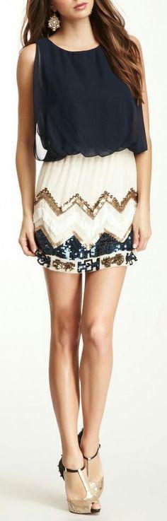 Zig Zag + Sequins Dress // love this!