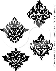 Black And White Damask Design Elements Posters, Art Prints