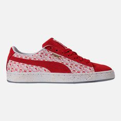 9bba5af0c Right view of Women's Puma x HELLO KITTY Suede Classic Casual Shoes in  Bright Red/