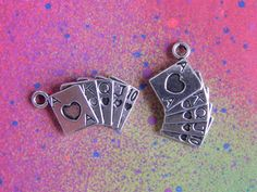 10 Poker Cards Playing Cards Royal Flush Charm Tibetan Silver Charms for Jewelry Making Crafts